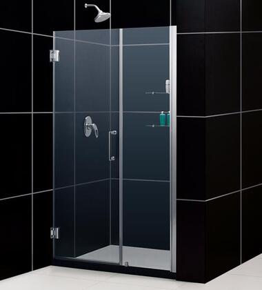 SHDR-20517210S-06 Unidoor 51-52 In. W X 72 In. H Frameless Hinged Shower Door With Shelves In Oil Rubbed
