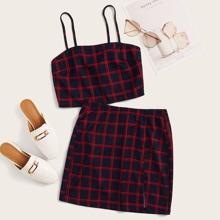 Plaid Print Crop Cami Top & Split Hem Skirt Set