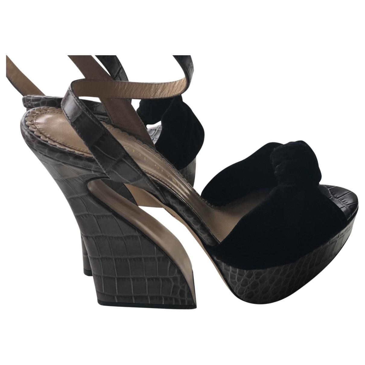 Charlotte Olympia - Sandales   pour femme en cuir - noir