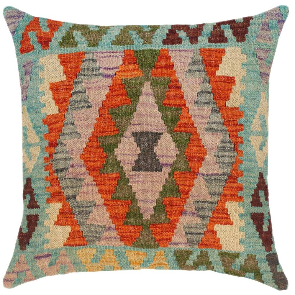 Southwestern Royce Hand-Woven Turkish Kilim Throw Pillow (Polyester - 18 in. x 18 in. - Accent - Rust - Single)