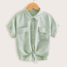 Camisa de niñas con bolsillo con solapa de manga de doblez