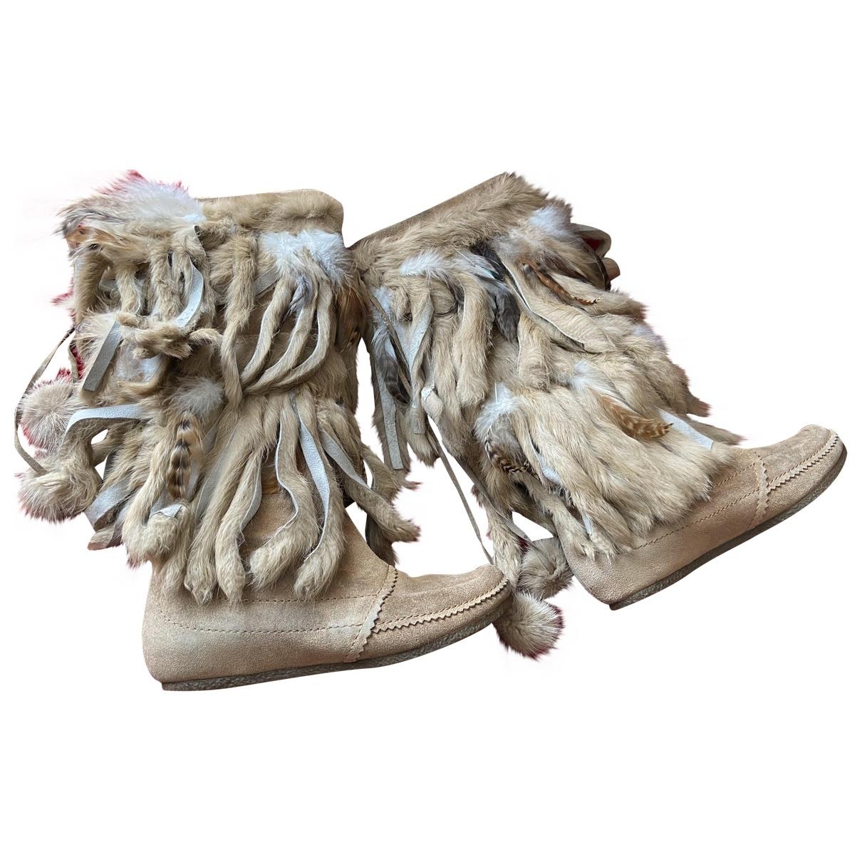 Ash \N Ecru Suede Boots for Women 38 EU