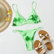 Tie Dye Triangle Tanga Bikini Swimsuit
