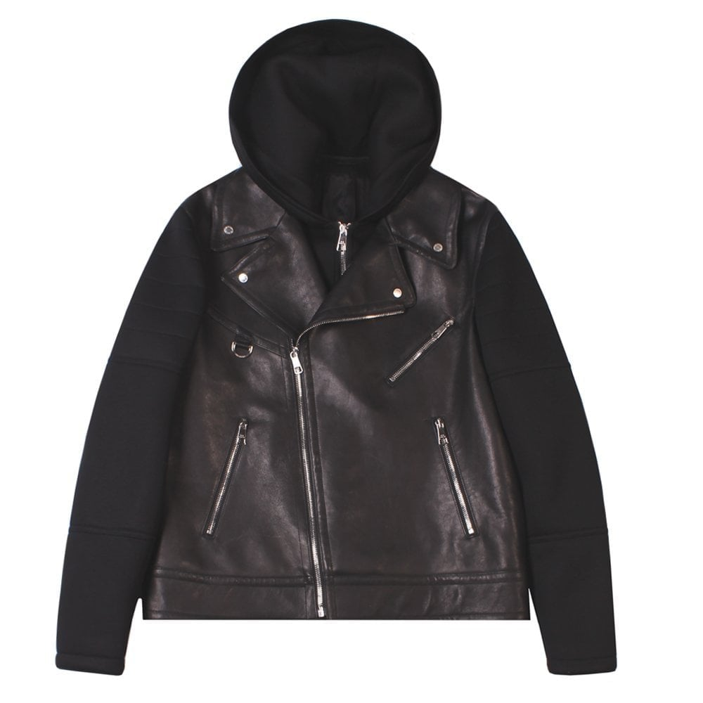 Neil Barrett Hooded Biker Jacket Colour: BLACK, Size: MEDIUM
