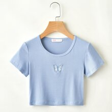 Butterfly Embroidery Ribbed Crop Tee