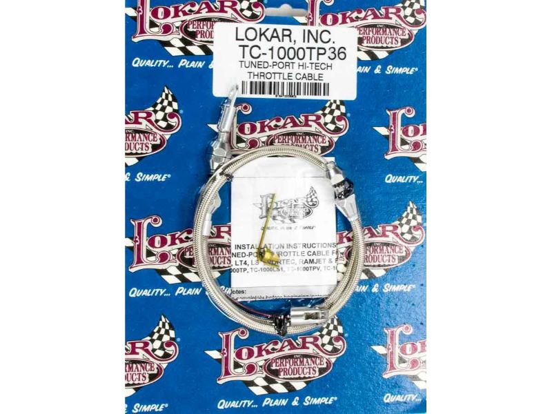 Lokar TC-1000TP36 3ft Hi-Tech Throttle Cable (Braided Stainless Housing) GM LT-Series
