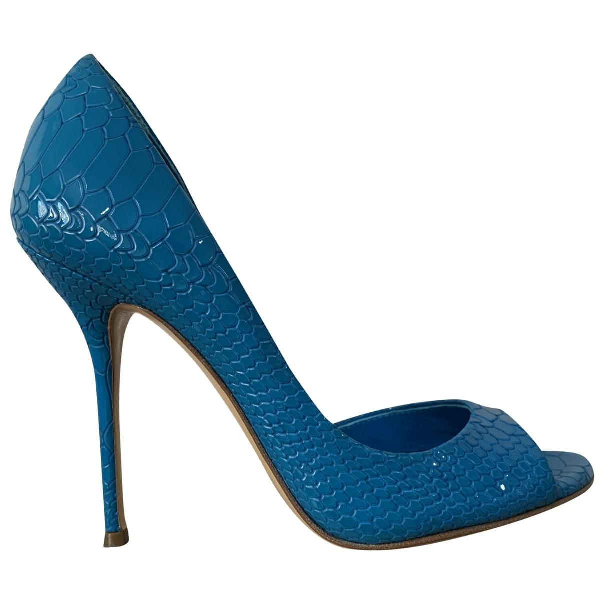 Casadei - Escarpins   pour femme en cuir - bleu
