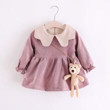 Toddler Girls Zipper Back Corduroy Babydoll Blouse With Doll