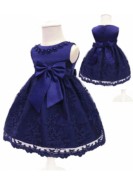 Milanoo Flower Girl Dresses Lace Bow A Line Kids Short Formal Party Dress