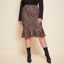 Meerjungfrau Rock mit Leopard Muster