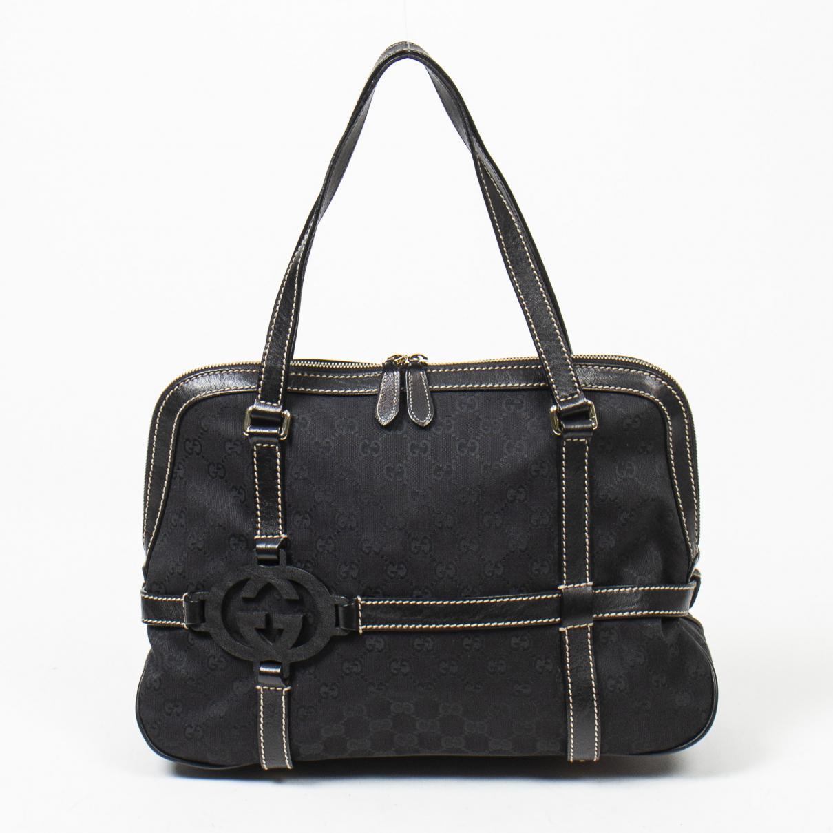 Gucci Interlocking Handtasche in  Schwarz Baumwolle