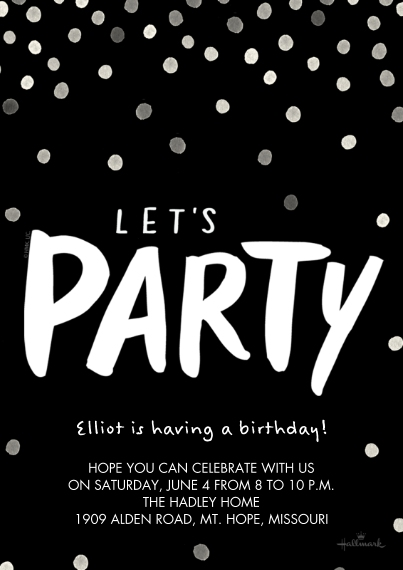 Kids Birthday Party Invites 5x7 Cards, Premium Cardstock 120lb with Scalloped Corners, Card & Stationery -Brushy Lets Party