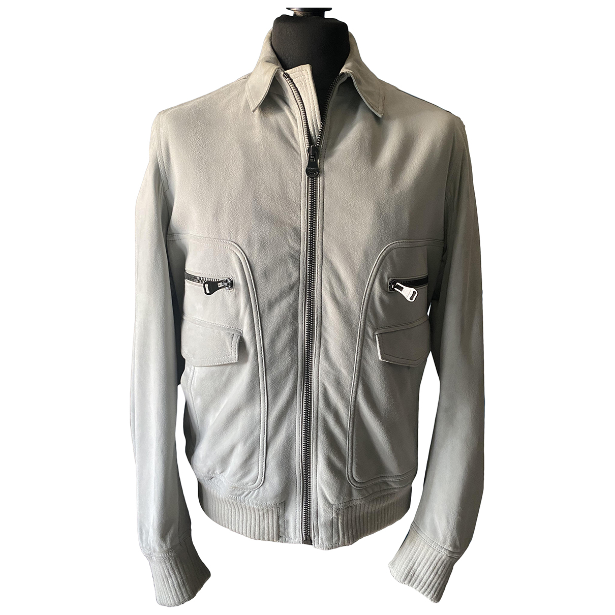 Salvatore Ferragamo N Grey Suede jacket  for Men 52 IT