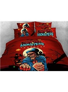 Skeleton Magician Halloween Theme 3D Printed 4-Piece Polyester Bedding Sets/Duvet Covers