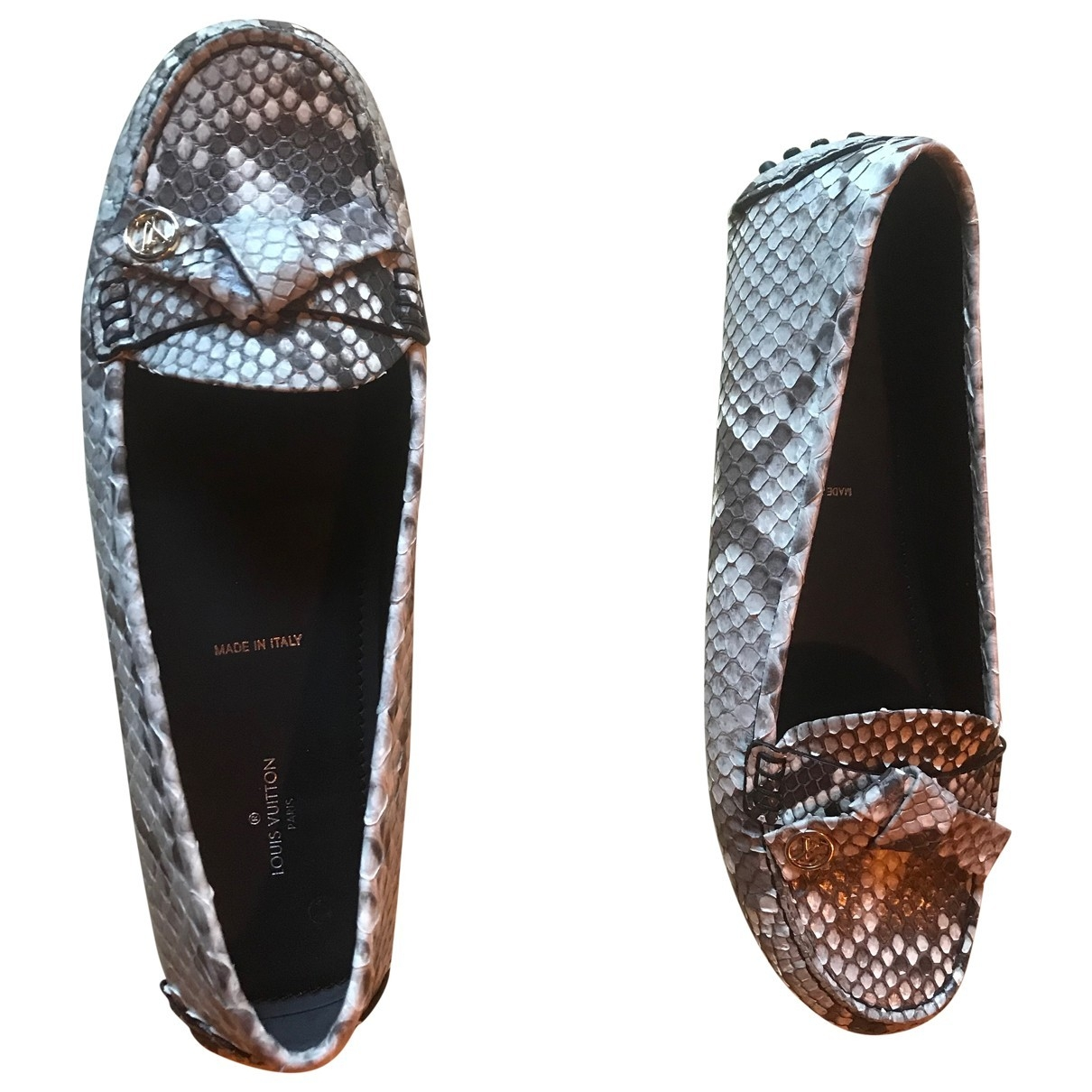 Louis Vuitton \N Grey Python Flats for Women 40 EU