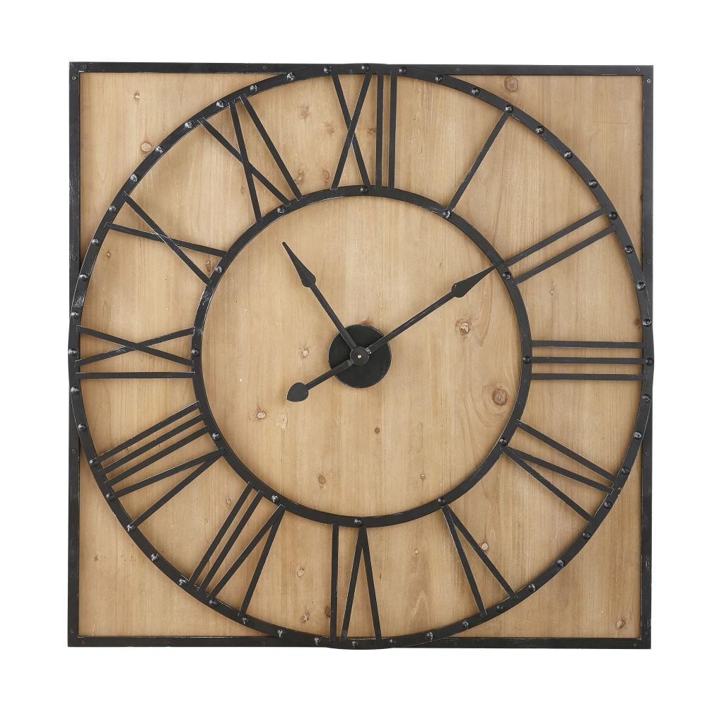 Quadratische Wanduhr aus Tannenholz und Metall mit Nieten 110x110