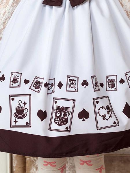 Milanoo Classic Lolita JSK Dress Printed Bows Ruffles White  Lolita Jumper Skirts
