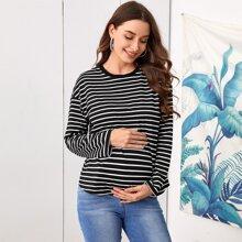 Maternity Drop Shoulder Striped Tee