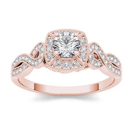 1/2 CT. T.W. Diamond 14K Rose Gold Engagement Ring, 6 1/2 , No Color Family