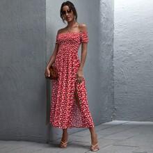 Ditsy Floral Print Shirred Bodice Bardot Dress