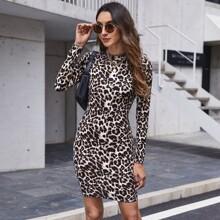 Kleid mit Stehkragen und Leopard Muster