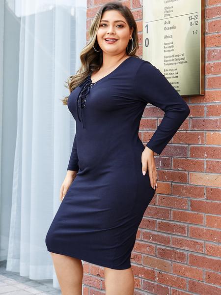 YOINS Plus Size Navy Criss-cross V-neck Knit Dress