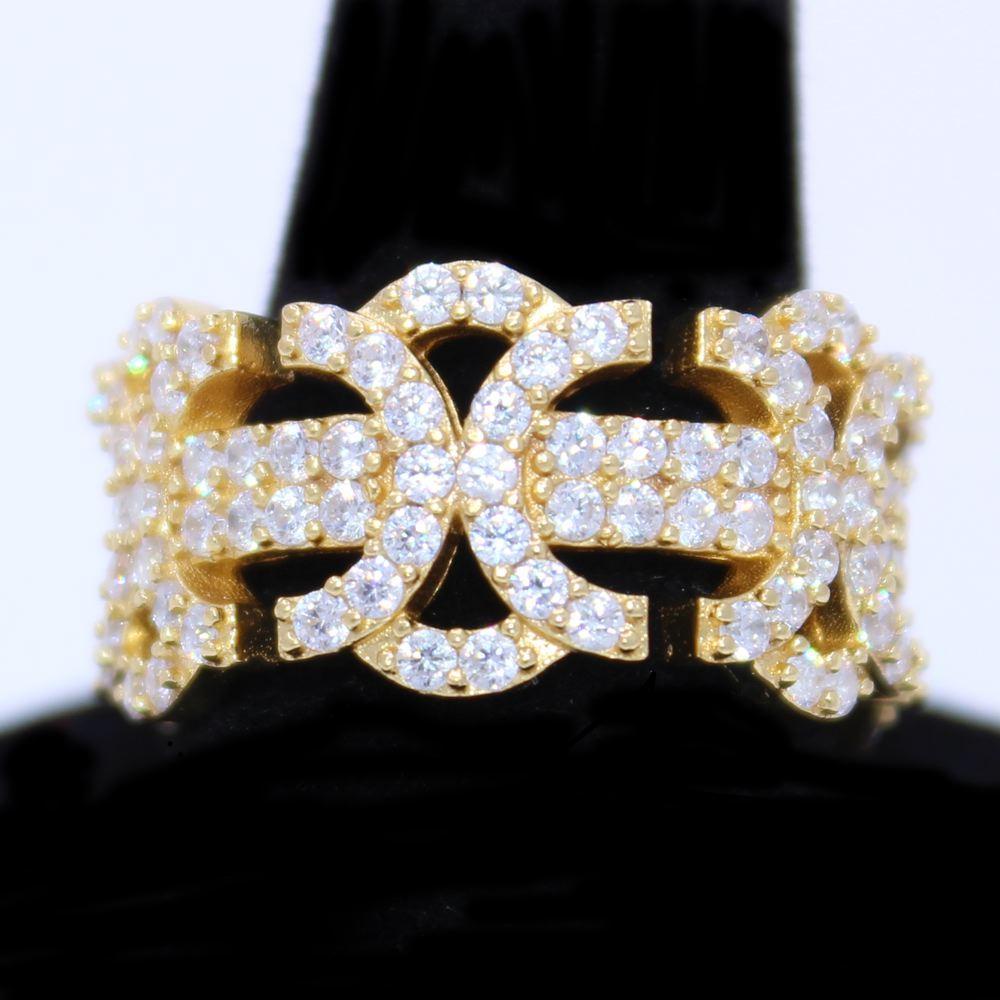 .925 Silver Byzantine CZ Hip Hop Bling Ring