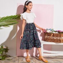Girls Keyhole Back Ruffle Armhole Top & Letter Graphic Skirt Set