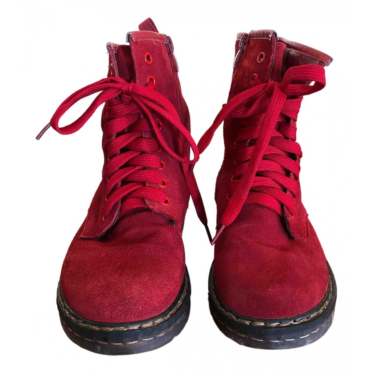 - Boots   pour femme en suede - rouge