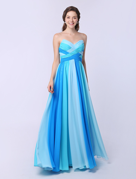 Milanoo Multicolor A-line Chiffon Prom Dress with Sweetheart Neck Criss-Cross