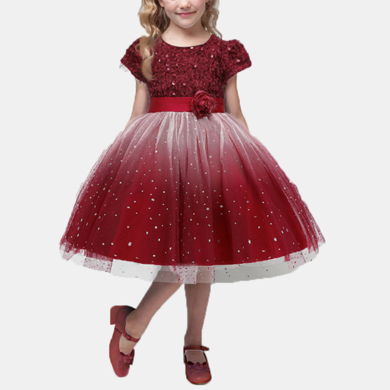 Girl's Sequins Flower Tulle Princess Wedding Birthday Formal Dress For 4-13Y