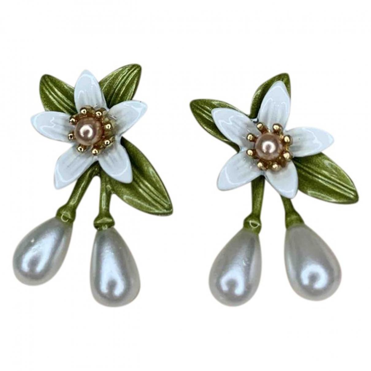 Non Signé / Unsigned Motifs Floraux Green Metal Earrings for Women \N