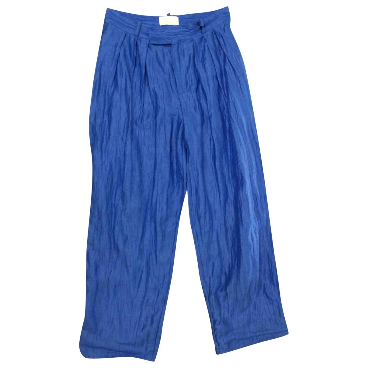 Non Signé / Unsigned \N Blue Linen Trousers for Women 38 FR