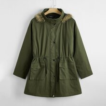 Plus Drawstring Waist Button Through Hooded Parka Coat