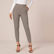 Pantalones de cuadros con bolsillo oblicuo de cintura ancha