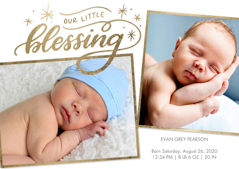 Baby Announcements Flat Glossy Photo Paper Cards with Envelopes, 5x7, Card & Stationery -Baby Stars Blessing by Tumbalina