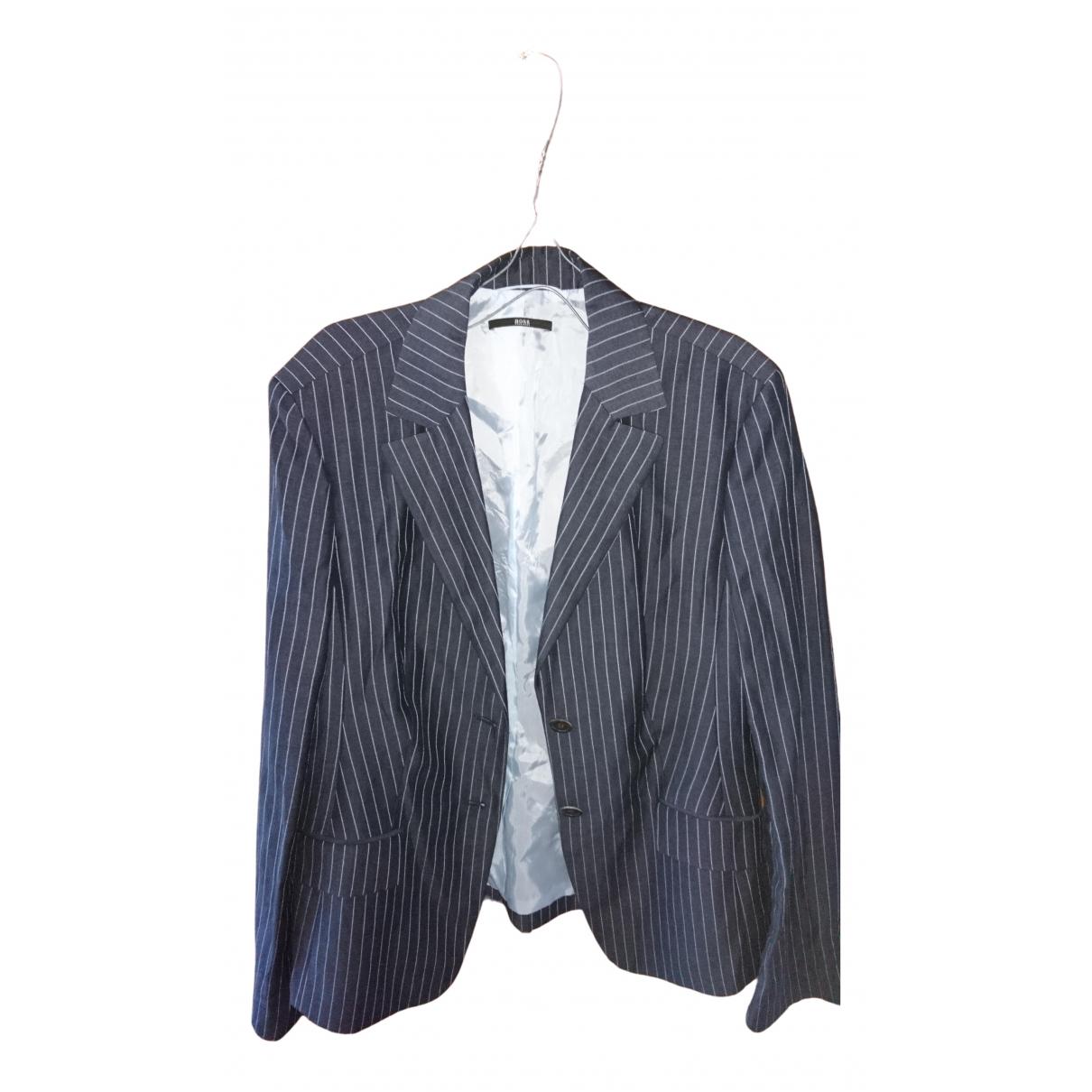 Boss - Veste   pour femme en laine - bleu