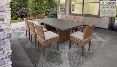 Laguna Collection LAGUNA-DTREC-KIT-8C-ASH Patio Dining Set With 1 Table  8 Side Chairs - Wheat and Ash