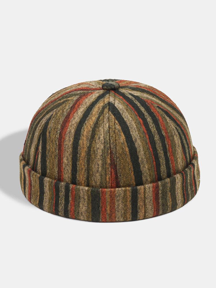 Collrown Men & Women Casual Personality Stripe Pattern Brimless Beanie Skull Hat Landlord Hat