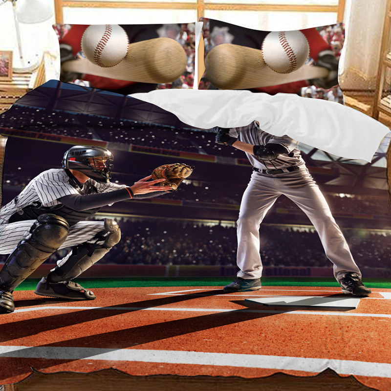 Two Men Playing The Baseball Printed Polyester 3-Piece Bedding Sets/Duvet Covers