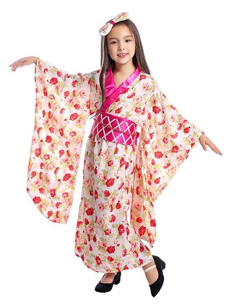Milanoo Halloween Japanses Costume Floral Print Bow 3 Piece Kid Kimono Set