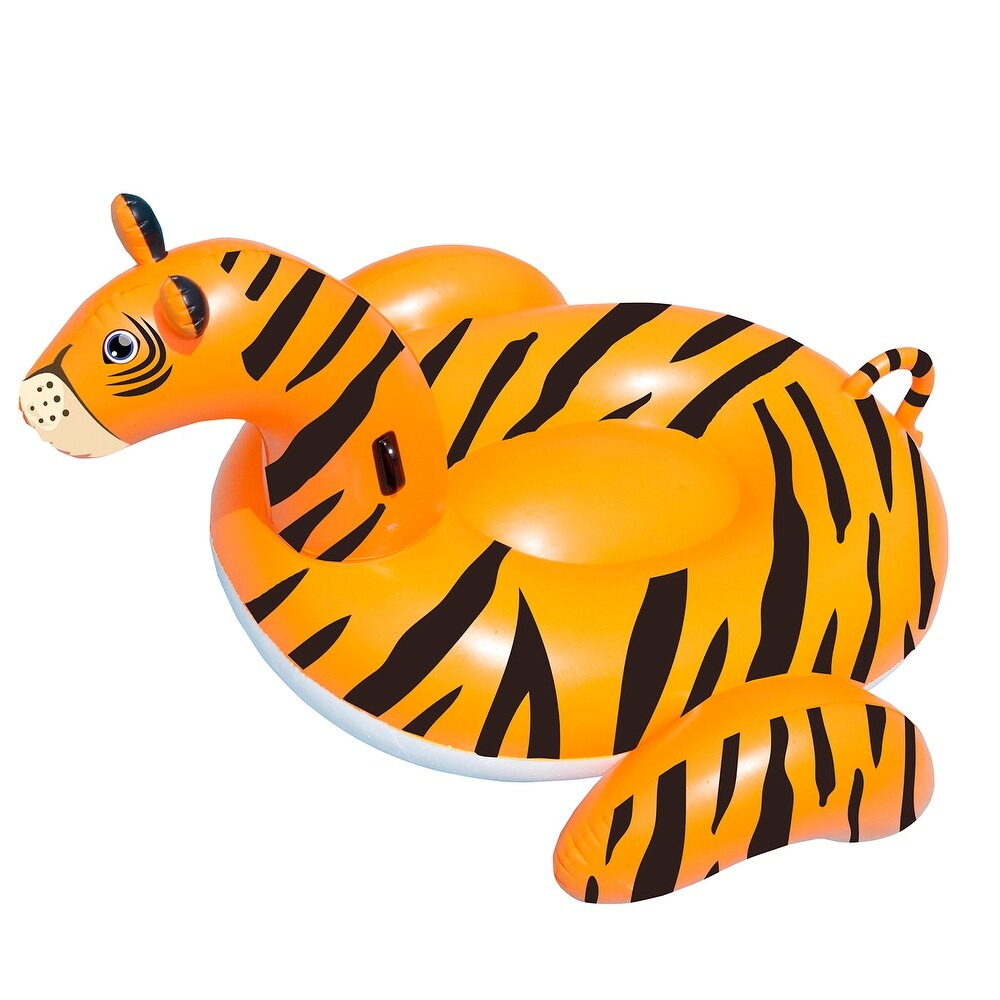 7.5FT Water Sports Inflatable Giant Tiger Pool Ride-On Lounger (Orange)