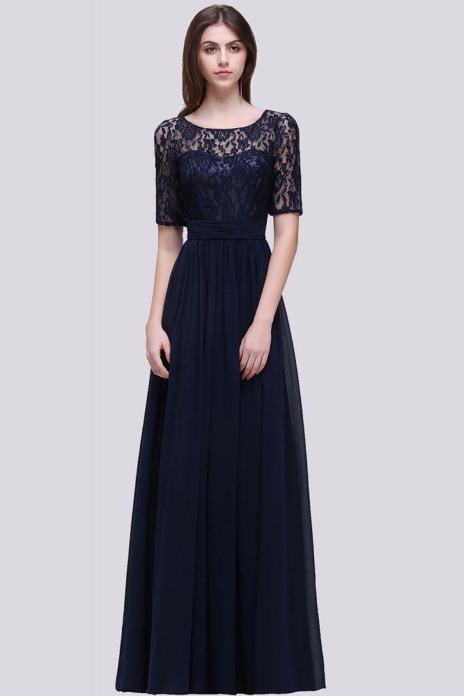 Elegante A-ligne en mousseline de soie dentelle scoop demi-manches robe de demoiselle dhonneur au sol