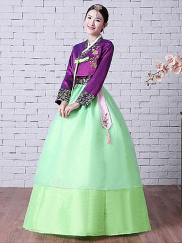 Milanoo Women Korean Hanbok Costume Neon Green Dress With Overcoat And Sash Halloween Asian Costume