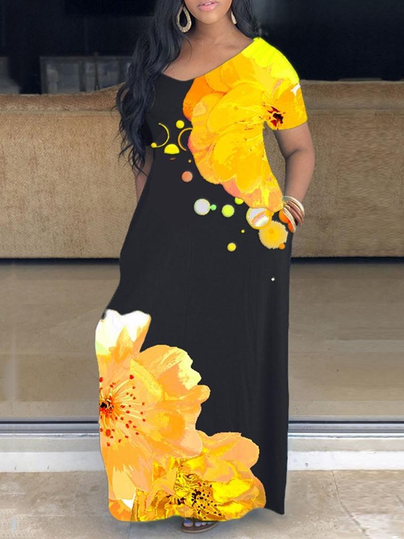 Ericdress V-Neck Floor-Length Short Sleeve Floral A-Line Dress
