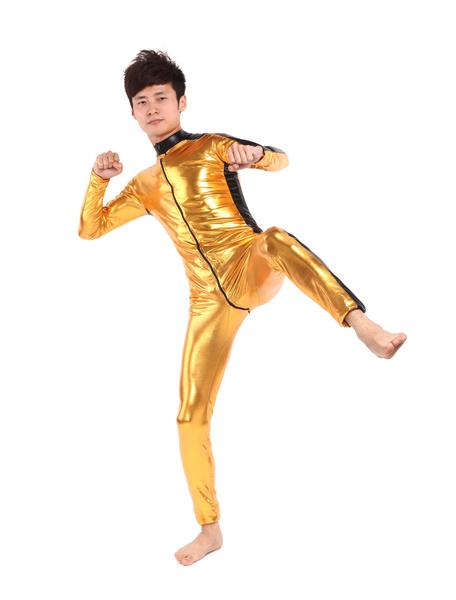 Milanoo Golden Shiny Metallic Fabric Catsuit Unisex Body Suit