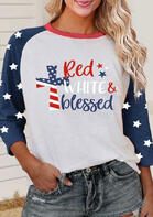 Blessed Cross American Flag Star Christian Blouse - White