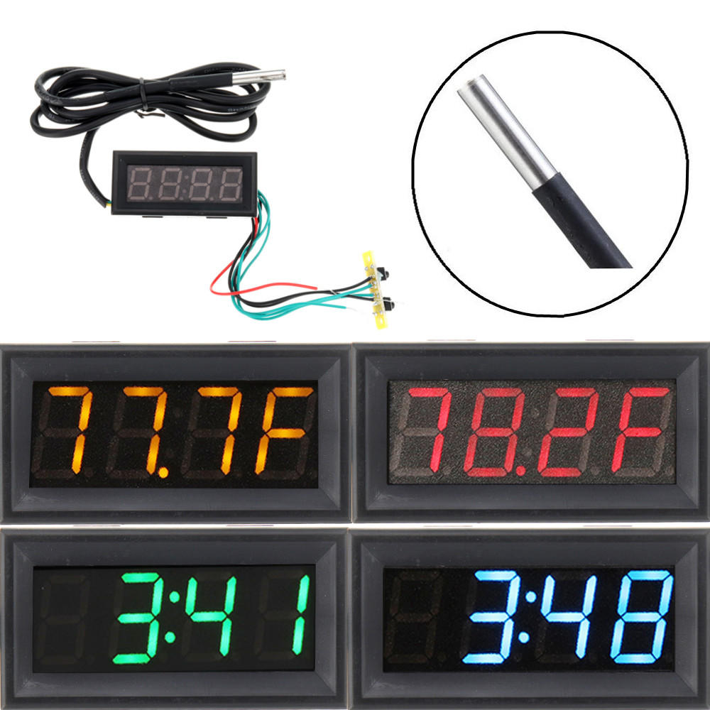 0.56 Inch 200V 3-in-1 Time + Temperature + Voltage Fahrenheit Display DC7-30V Voltmeter Electronic Watch Clock Digital T