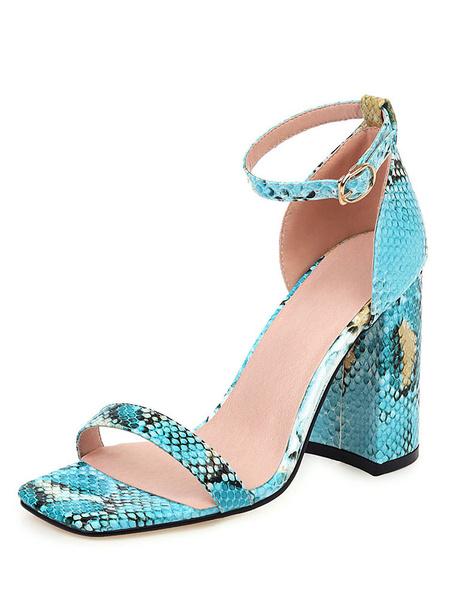 Milanoo Sandalias de tacon alto Sandalias de tacon de bloque con estampado de serpiente de punta abierta azul Zapatos