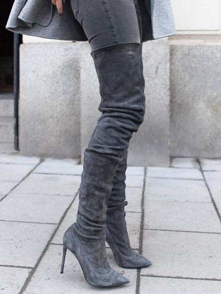 Milanoo Botas altas mujer gris oscuro  Piel sintetica de tacon de stiletto de puntera puntiaguada 12cm Color liso Otoño Invierno Cremallera